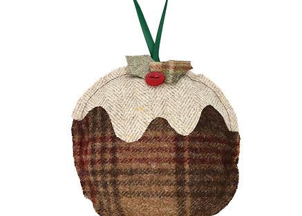 Handmade Christmas Pudding decoration in tweed