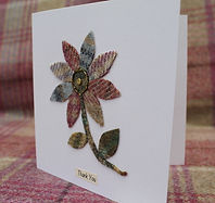 Greetings Card with Tweed Flower