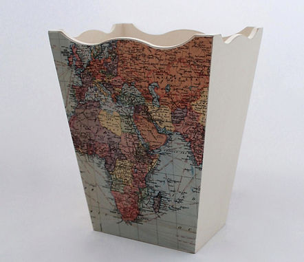 Wooden waste paper basket world map design