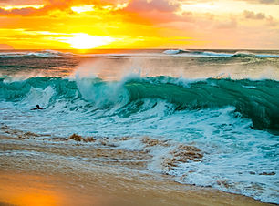 sunset and large wave - sunset beach, no