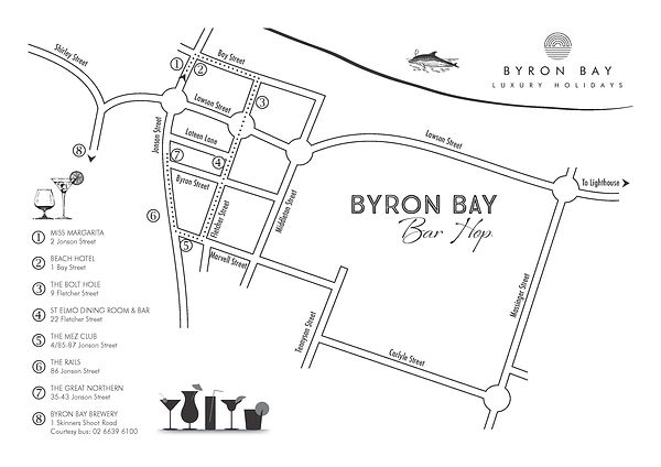 Byron Bay Bar Hop Map