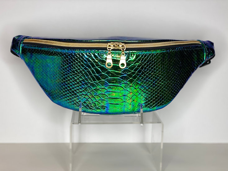 Green & Gold Holographic Snake Skin Fanny Pack