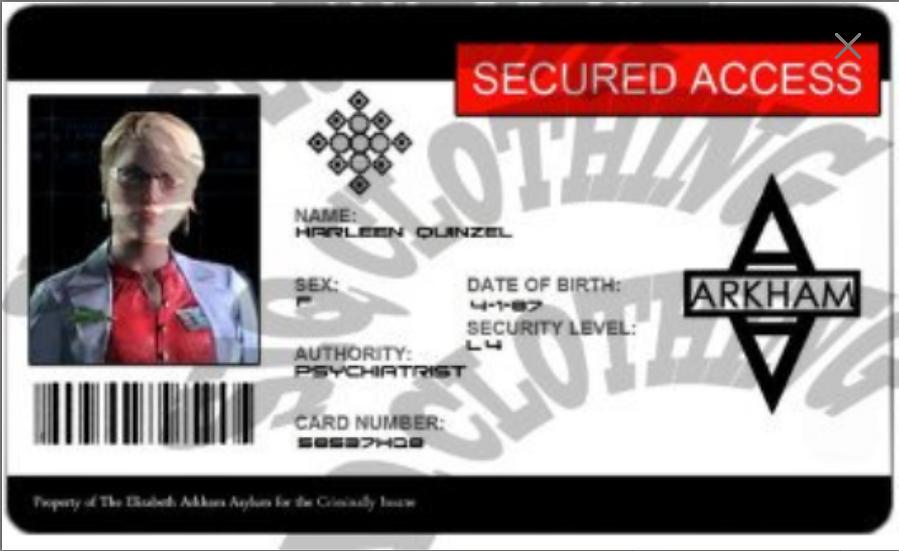 Dr. Harleen Quinzel Arkham Secured Access Badge