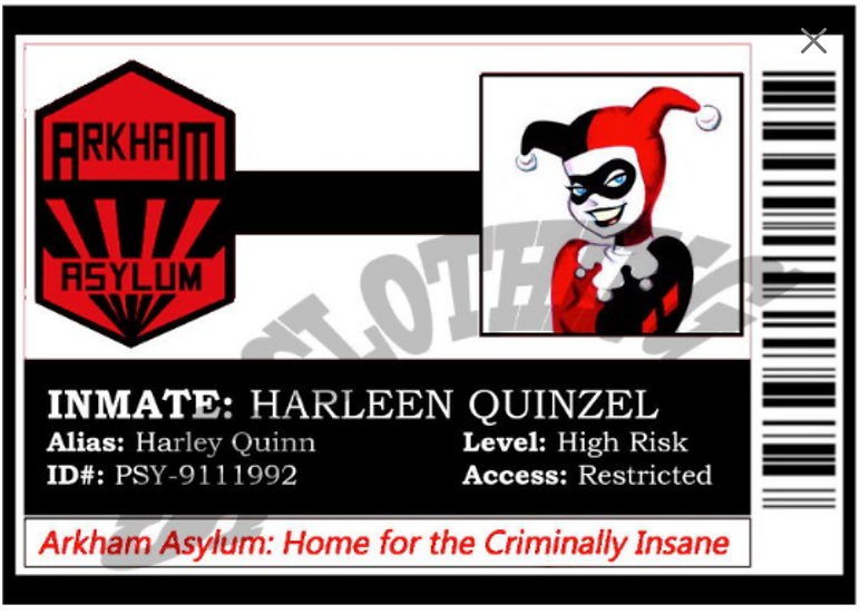Dr. Harleen Quinzel Arkham Cartoon INMATE Badge