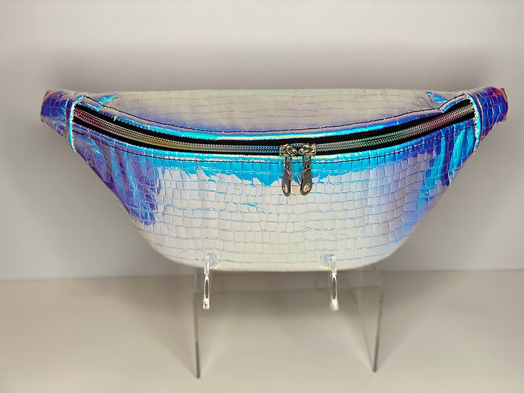 Pink/Blue Holographic Python Like Fanny Pack