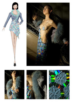Crocheted sequins dress with a asymmetrical vest