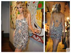 crochet sequins dress embroidered beads with fur