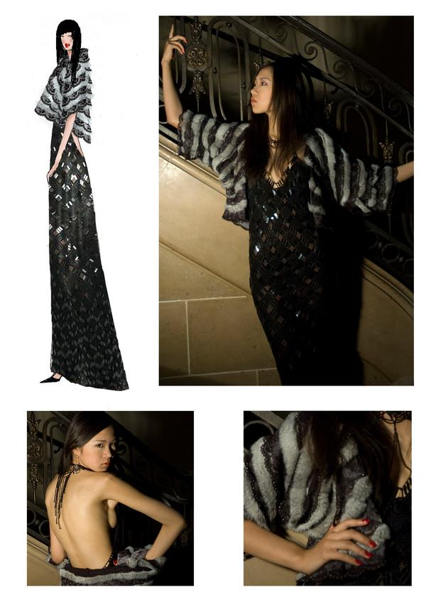 Black crocheted evening gown with a fur cape