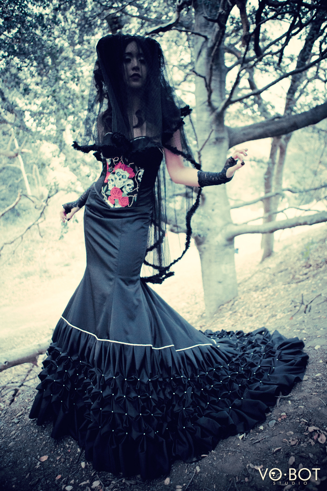 Black evening gown with under-bust corset