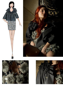 Crocheted fur dress with pleated wool cape