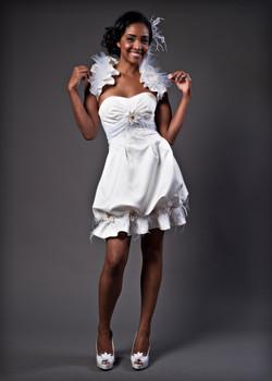 Short wedding dress with pleats