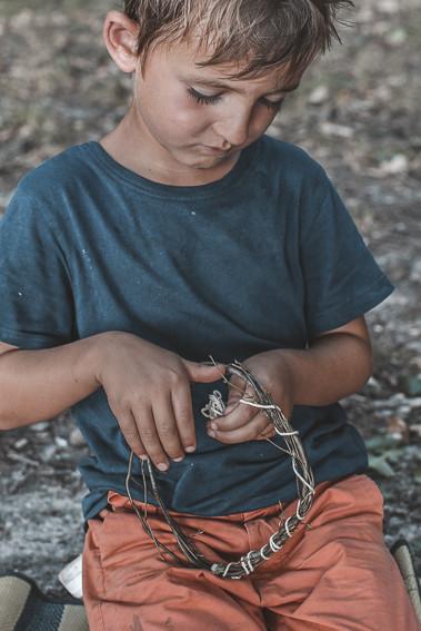 Wald-Traumfänger basteln mit Kinder