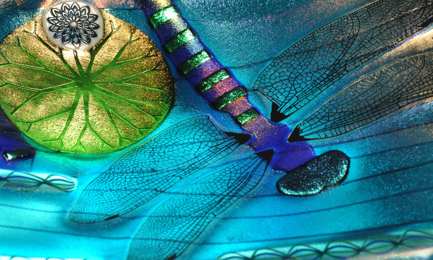 Fused Glass Dragonfly Bowl