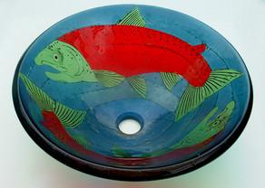 Sockeye Salmon Glass Vessel Sink