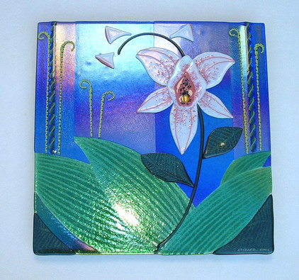 Fused Glass Orchid Wall Panel