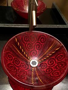 Red Venetian Glass Vessel Sink