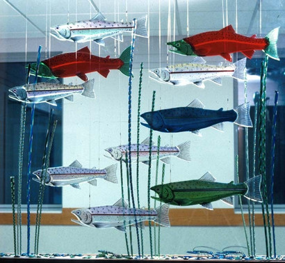 Fused Glass Fish Installation