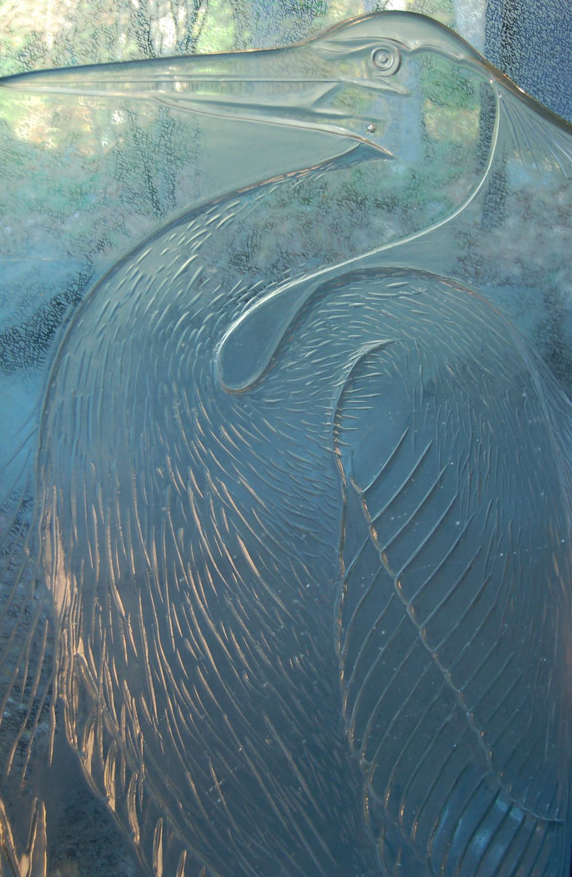Fused Glass Heron Sculpture