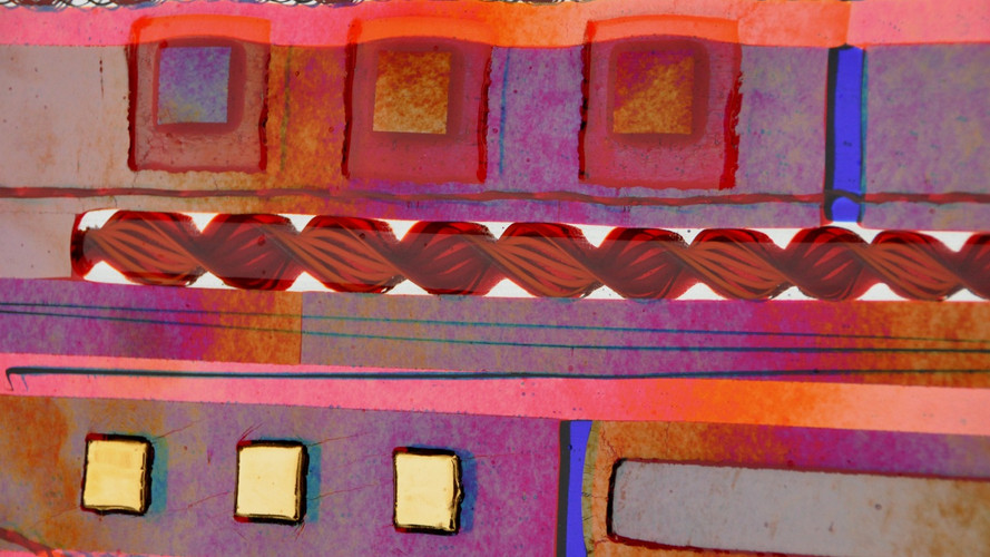Red Fused Glass Wall Panel