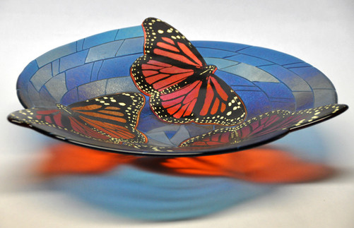 Fused Glass Monarch Bowl