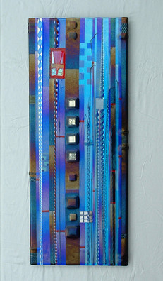 Blue Fused Glass Wall Panel