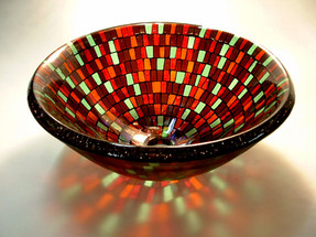 Tropical Mosaic Glass Vessel Sink