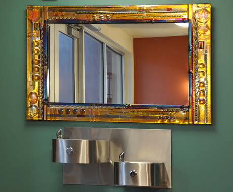 Joseph Fused Glass Mirror Installation