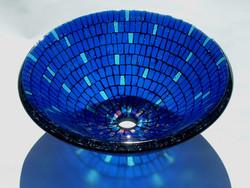 Blue Mosaic Glass Vessel Sink
