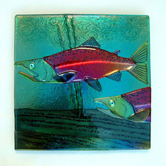 Fused Glass Sockeye Salmon Wall Panel