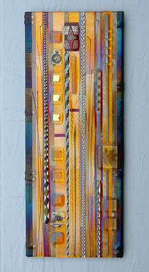 Amber Fused Glass Wall Panel