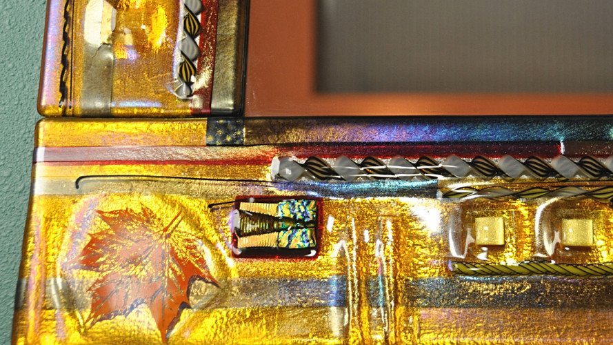 Fused Glass Mirror Detail