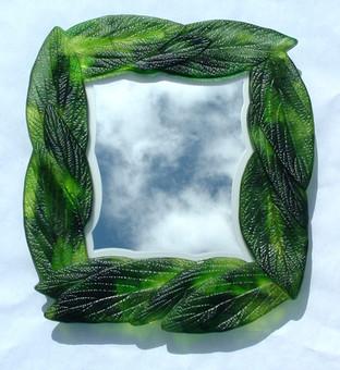Fused Glass Leaf Mirror