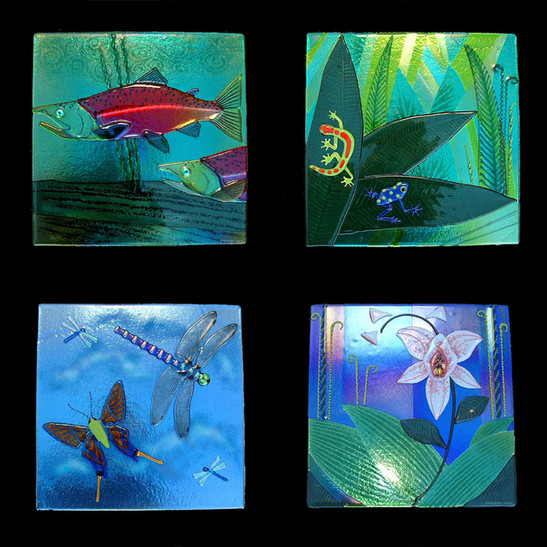 Fused Glass Nature Wall Panels