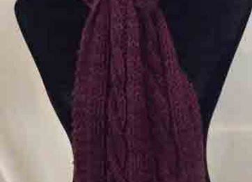 Burgandy Cabled Scarf and Beret
