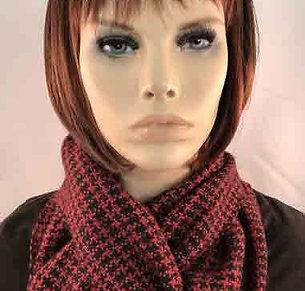 Red and Black Tweed Scarf