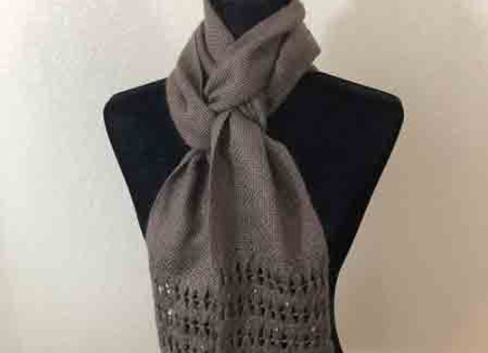 Brown hat and beaded scarf set