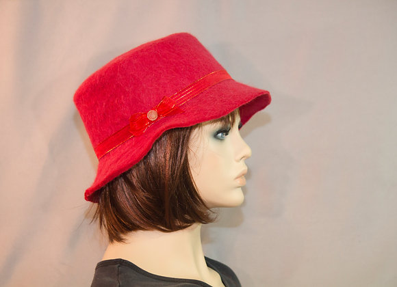 Lady In Red Felted Hat