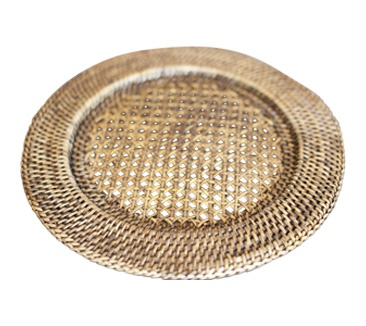 Rattan plate charger
