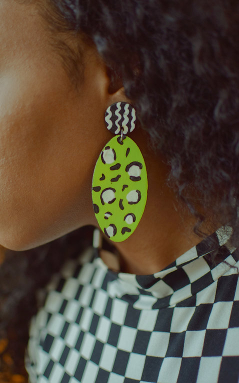 Victoria Reed, black owned businesses, black owned businesses online, victoriareed.com, mixed prints, mixed print earrings, hand-painted earrings, statement earrings, Victoria Reed Magazine, VR Magazine