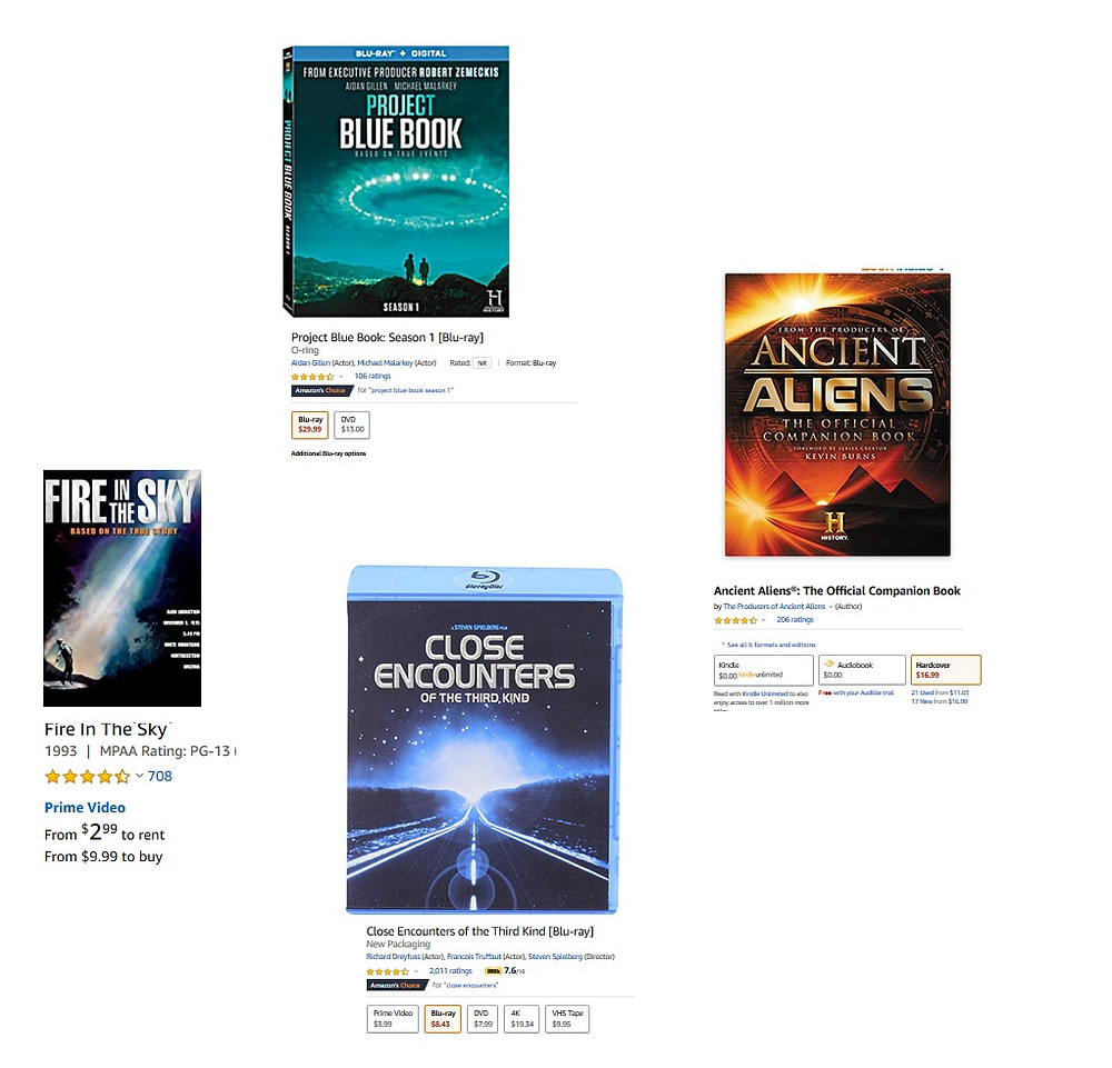 UFO and alien books and movies for sale