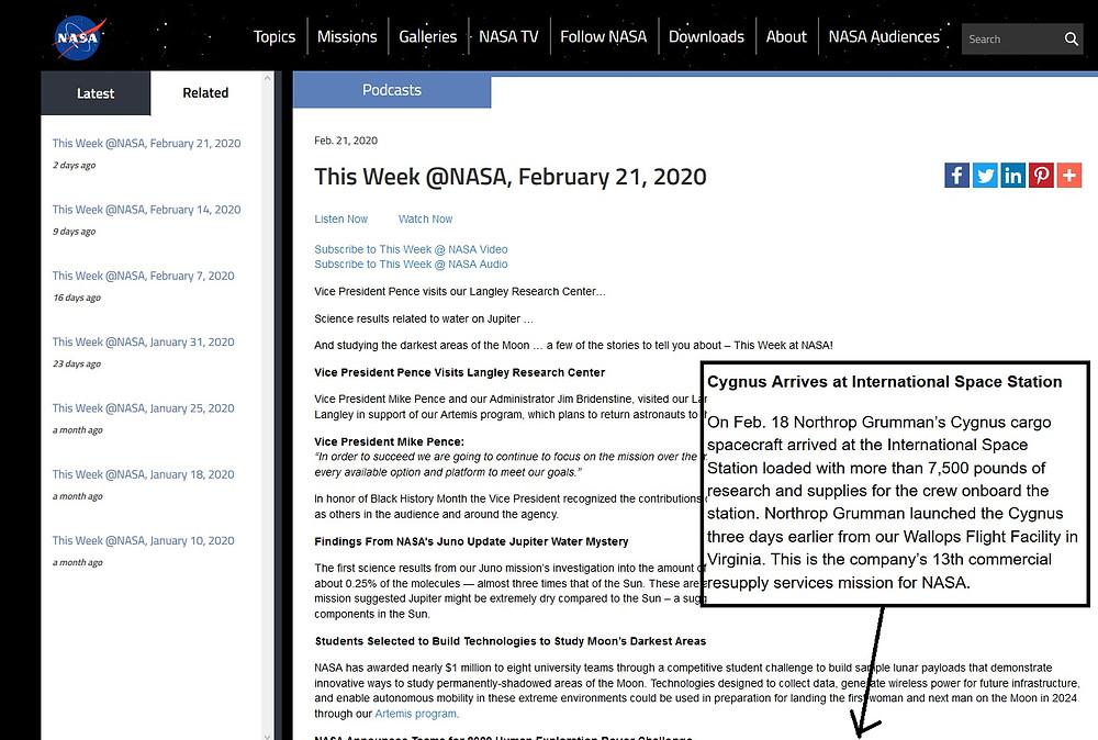 NASA plans for Cygnus arrival article