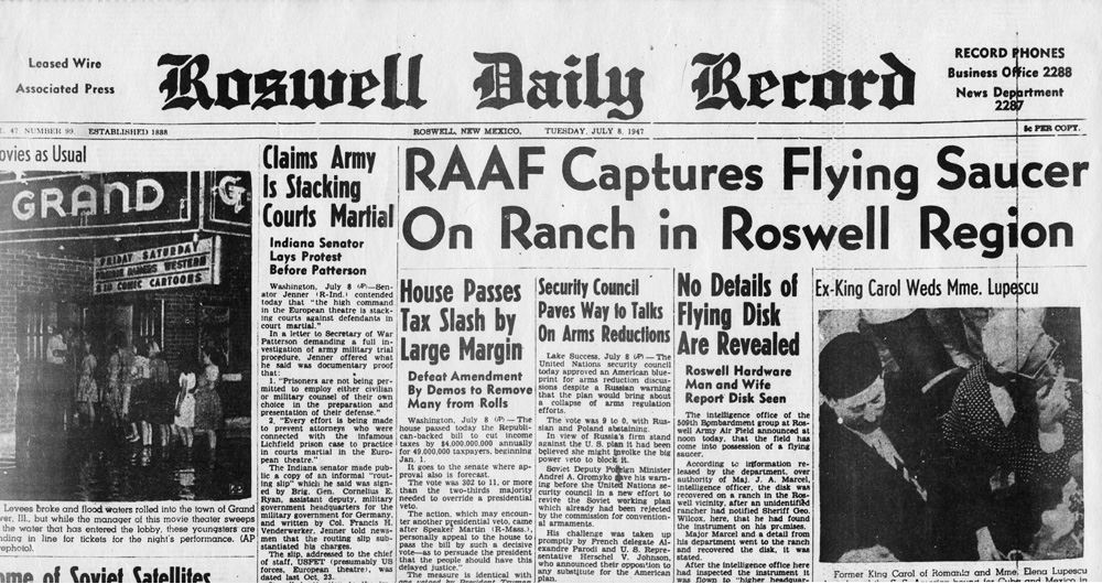 Roswell UFO crash newspaper headline