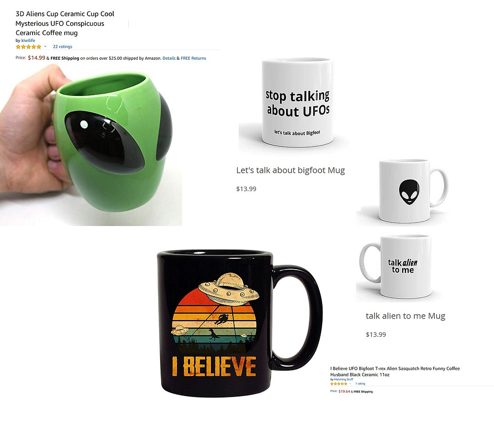 UFO and alien coffee cups for sale