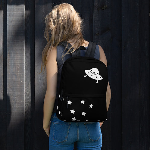Black UFO Flying Saucer & Stars Backpack