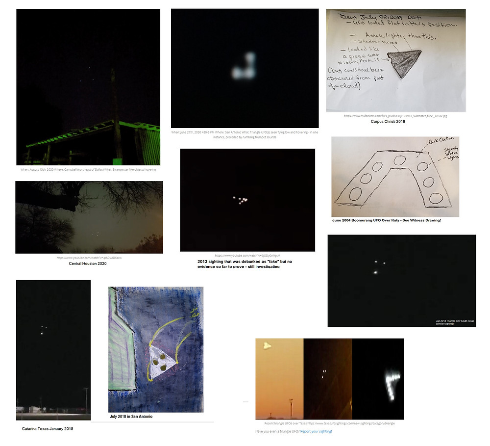 Triangle UFOs I've reported on over the years, many more than these, this is just a sample!