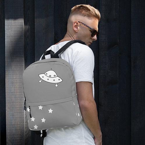 Gray UFO Flying Saucer & Stars Backpack
