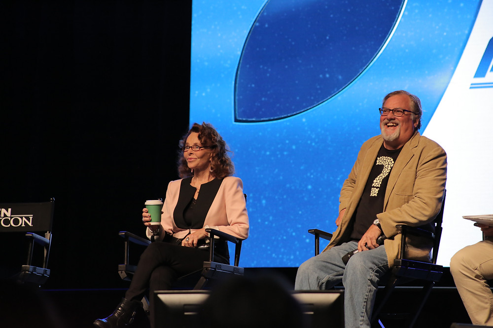 Linda Moulton Howe and David Childress laughing