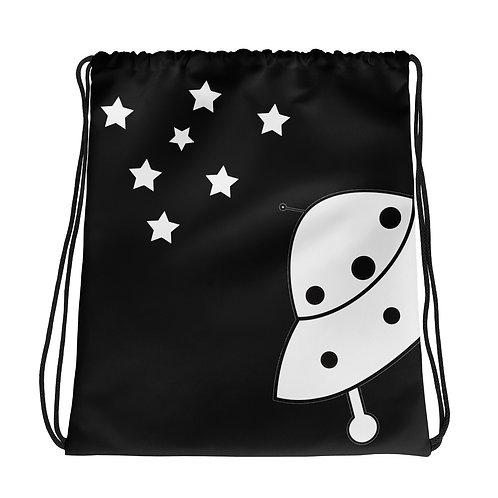 Flying Saucer UFO Believe Black Drawstring Bag