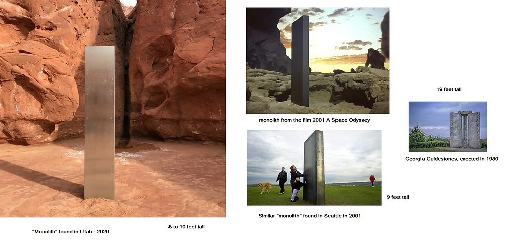 Comparison of Georgia, Utah, Washington monoliths vs 2001 A Space Odyssey film