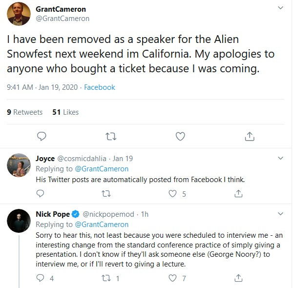 Grant Cameron removed as speaker from Alien Snowfest